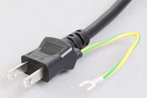 電源ケーブル(片側アース端子付き2Pプラグ/片側切り落とし、丸型電線タイプ)<12A-125V>