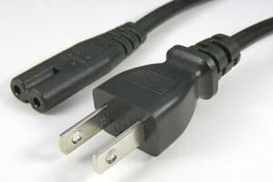 電源ケーブル(2Pプラグ/2Pメガネ型ソケット、扁平型電線タイプ)<7A-125V>