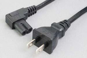【耐トラッキング対策】 電源ケーブル(2Pプラグ/2P L型メガネソケット、扁平型電線タイプ)<7A-125V>
