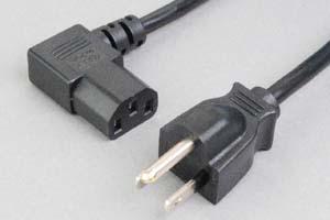 【耐トラッキング対策】 電源ケーブル(3Pプラグ/左向きL型3Pソケット)<7A-125V>