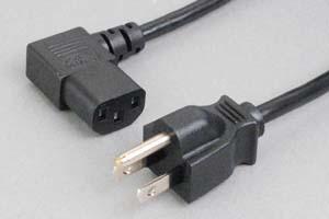 【耐トラッキング対策】 電源ケーブル(3Pプラグ/右向きL型3Pソケット)<7A-125V>