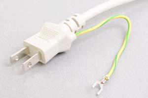 電源ケーブル(片側アース端子付き2Pプラグ/片側切り落とし、ライトグレー色の丸型電線タイプ)<7A-125V>