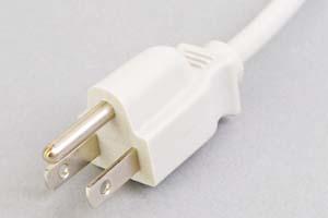 電源ケーブル(片側3Pプラグ/片側切り落とし、ライトグレー色)<7A-125V>