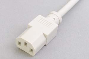 電源ケーブル(片側3Pソケット/片側切り落とし、ライトグレー色)<7A-125V>