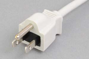 【耐トラッキング対策】 電源ケーブル(片側3Pプラグ/片側切り落とし、ライトグレー色)<7A-125V>