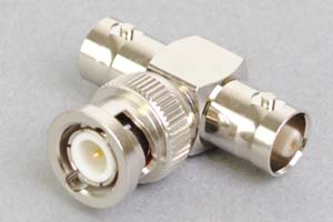 同軸コネクタ用中継アダプタ  BNCオス-BNCメス×2のT型分岐(インピーダンス50Ω)
