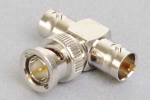 同軸コネクタ用中継アダプタ  BNCオス-BNCメス×2のT型分岐(インピーダンス75Ω)