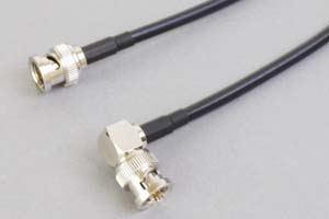 75オーム同軸ケーブル BNCオス-BNCオス (片側Lアングル型-片側ストレート型、JIS規格3C-2V電線タイプ)