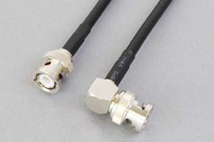 50オーム同軸ケーブル BNCオス-BNCオス (片側Lアングル型-片側ストレート型、JIS規格3D-2V電線タイプ)