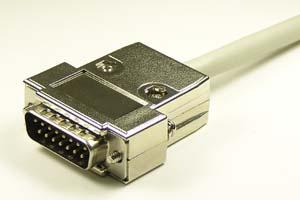 EMI対策 Dsubケーブル 15pin 丸ケーブル(片側オス、♯4-40ショートネジ)