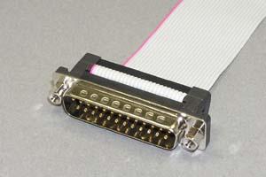 Dsubケーブル 25pin フラットケーブル(片側オス、♯4-40ロックナット)