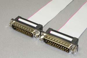 Dsubケーブル 25pin フラットケーブル(オス-オス、M2.6ロックナット) 【販売中止予定のお取り寄せ品】