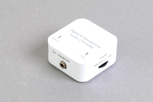 デジタル音声信号 コンバーター : 同軸デジタル(RCA)/光角形デジタル音声 ⇒ 3.5mmステレオミニ音声(アンプ機能付き)
