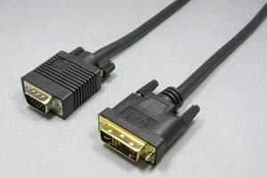 ディスプレイケーブル<アナログRGB用ミニD-sub15pin⇔DVI-Aコネクタ形状変換ケーブル> ミニD-sub15pinオス-DVI-Aオス(12+5pin) 【在庫限り販売中止】
