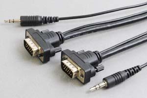 ディスプレイケーブル ステレオ音声ケーブル付き小型極細タイプ、アナログRGB ミニD-sub15pinオス+3.5mmステレオミニプラグ-ミニD-sub15pinオス+3.5mmステレオミニプラグ