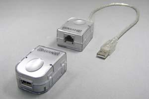 USBエクステンダー : UTPケーブル延長タイプ、最大45m延長 (USB1.1規格対応)