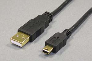 USB2.0ケーブル Aコネクタ オス-ミニBコネクタ オス(金メッキシェル)