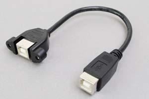USB2.0ケーブル Bコネクタ メス-パネルマウントBコネクタ メス <パネルマウント中継アダプタケーブル>