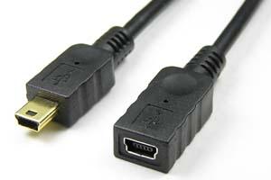 USB2.0ケーブル ミニBコネクタ メス-ミニBコネクタ オス<ミニB延長用>