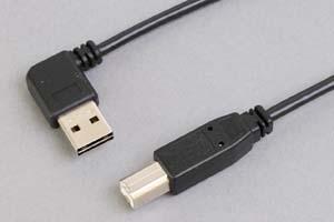USB2.0ケーブル 両挿しタイプ水平方向L型Aコネクタ オス-Bコネクタ オス