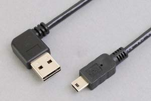 USB2.0ケーブル 両挿しタイプ水平方向L型Aコネクタ オス-ミニBコネクタ オス