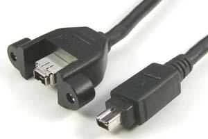IEEE1394ケーブル 4pinオス-パネルマウント4pinメス (DV端子) 【販売中止予定】