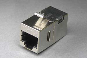 LANアダプタ CAT6 ストレート結線 筒型 (スナップイン取付、シールドタイプ)