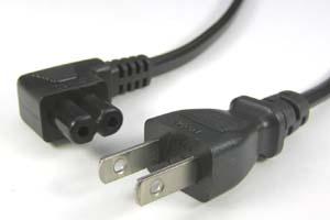 電源ケーブル(2Pプラグ/2P L型メガネソケット、扁平型電線タイプ)<7A-125V>