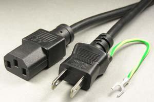 電源ケーブル(アース端子付き2Pプラグ/3Pソケット)<7A-125V>