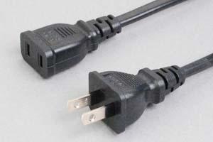【耐トラッキング対策】 電源ケーブル(2Pプラグ/2Pソケット、扁平型電線タイプ)<12A-125V>
