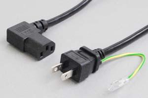 【耐トラッキング対策】 電源ケーブル(アース端子付き2Pプラグ/左向きL型3Pソケット)<7A-125V>