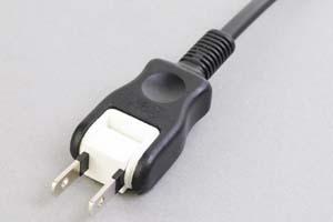 【耐トラッキング対策】 電源ケーブル(片側 耐トラッキング 2Pスイングプラグ/片側切り落とし、扁平型電線タイプ)<7A-125V>