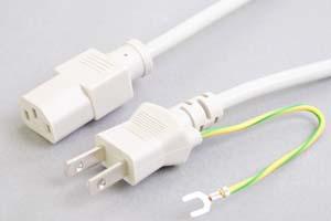 電源ケーブル(アース端子付き2Pプラグ/3Pソケット、ライトグレー色)<7A-125V>