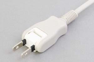 【耐トラッキング対策】 電源ケーブル(片側 耐トラッキング 2Pスイングプラグ/片側切り落とし、ライトグレー色の扁平型電線タイプ)<7A-125V>