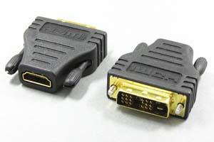 HDMIメス-DVI-Dオス(18+1:シングルリンク) 変換アダプタ
