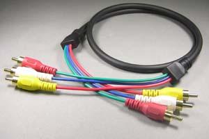 ビデオ+音声ケーブル RCAオス×3(音声×2+コンポジット端子)-RCAオス×3(音声×2+コンポジット端子) (直径7mmの3芯同軸タイプ、OFC電線) 【在庫限り販売中止】