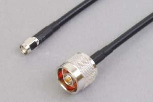 50オーム同軸ケーブル N型オス-SMAオス (両側ストレート型端子、MIL規格RG-58AU電線タイプ)