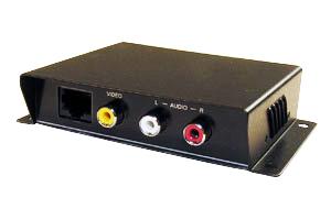 コンポジットビデオ信号(RCA端子)+オーディオ信号(RCA端子)エクステンダー(映像信号延長器:1入力1出力タイプ/UTPケーブル(LANケーブル)延長型) 【在庫限り販売中止】