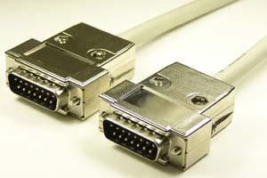 EMI対策 Dsubケーブル 15pin 丸ケーブル(オス-オス、M2.6ショートネジ)