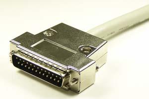 EMI対策 Dsubケーブル 25pin 丸ケーブル(片側オス、♯4-40ショートネジ)