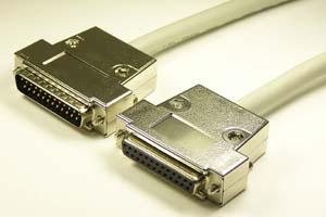 EMI対策 Dsubケーブル 25pin 丸ケーブル(オス-メス、M2.6ショートネジ)
