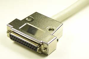 EMI対策 Dsubケーブル 25pin 丸ケーブル(片側メス、♯4-40ショートネジ)