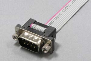 Dsubケーブル 9pin フラットケーブル(片側オス、♯4-40ロックナット)