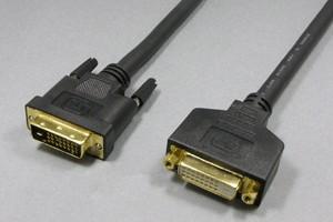ディスプレイケーブル<DVI-D 延長ケーブル(シングルリンク&デュアルリンク両用)> DVI-Dオス(24+1pin)-DVI-Dメス(24+1pin)