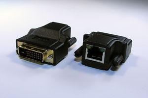 DVI-Dシングルリンク エクステンダー:最大20m延長(映像信号延長器:UTP(LAN)ケーブル(1本)延長型・電源不要タイプ) 【在庫限り販売中止】