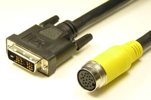 中継DVIケーブル DVI-Dシングルリンク(18+1pin)オス-丸型DIN19pinメス(狭小箇所 配線用)