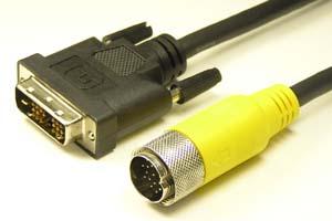中継DVIケーブル DVI-Dシングルリンク(18+1pin)オス-丸型DIN19pinオス(狭小箇所 配線用、HDMI Ver1.3規格)