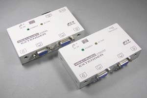 アナログRGB 信号エクステンダー (VGA信号エクステンダー) : 最大150m延長  (アナログRGB信号延長器:1入力2出力タイプ/UTP(LAN)ケーブル(1本)延長型)