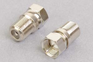 同軸コネクタ用変換アダプタ  F型オス-F型メス(インピーダンス75Ω)