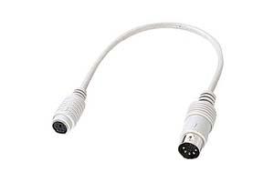 【サンワサプライ】 キーボード変換ケーブル、DIN5pinオス-ミニDIN6pinメス、長さ0.2m